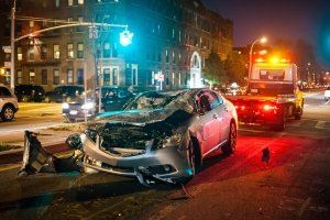 Car crash in the city at night